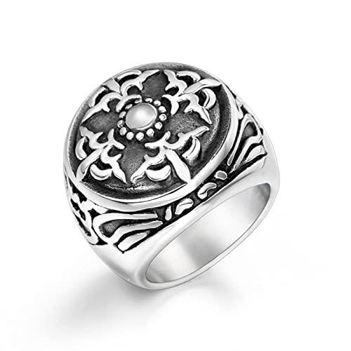 LINYIN Retro Distressed Street Titanium Steel Ring Pulsera Joyería Accesorios para Hombres Titanium Steel Ring Beauty Wai 10