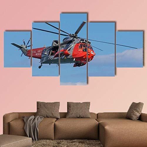 GSDFSD 5 Piezas Modernos Mural Helicóptero Royal Navy Mar King Rescue Cuadro en Lienzo,impresión artística,único,Pasillo Decor Pared Cuadro Carteles Innovador