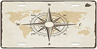 Beige Tan and Brown Lunarable Nautical License Plate 5.88 L X 11.88 W Inches Compass on World Map with Continents Africa America Antique Adventure High Gloss Aluminum Novelty Plate