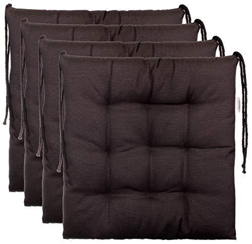 Brandsseller–Cojín decorativo de asiento para silla de jardín, 9 pespuntes, varios diseños, poliéster, antracita, 4er-Paket