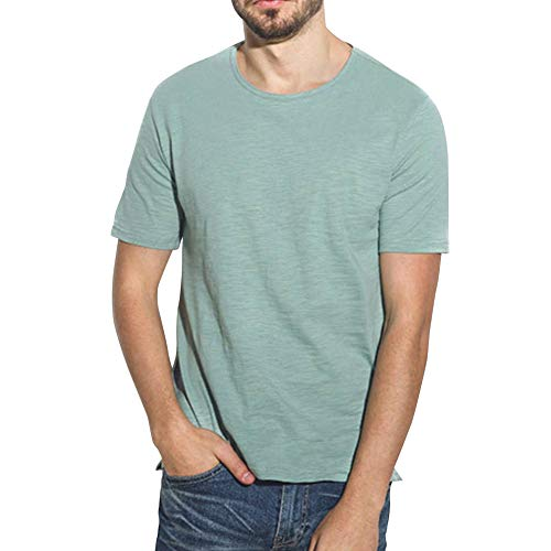 Mens Basic Casual Plain Short Sleeves T Shirts Cotton Crew Neck Bamboo Tee Shirt(Green,L)