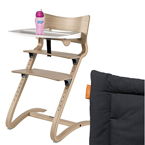 Leander Hochstuhl natur Komplettpaket mit Sicherheitsbügel, Tisch, BFree-Trinkbecher und Sitzkissen Coal