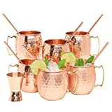 Kitchen Science Moscow Mule Copper Mugs 16 Ounce Set of 6 mugs with 6 Straws and Jigger Set, with amazing Ayurvedic benefits, Perfect Gift Set for your Friends and Family