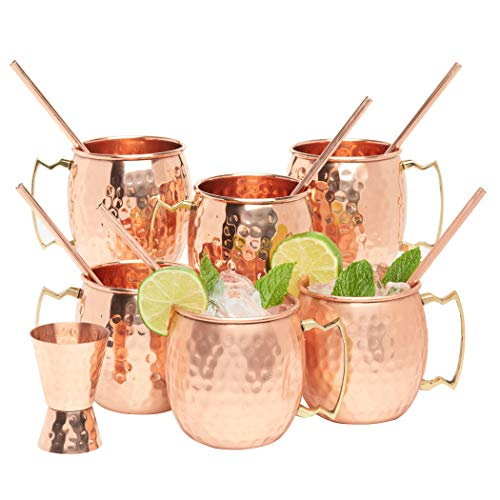 Kitchen Science Moscow Mule Copper Mugs, 16 Ounce with 6 Straws and Jigger Set
