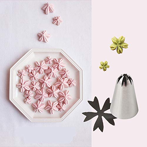 Bakery Russian Stainless Steel Pastry Tips Cupcake Cherry Blossoms Icing Piping Nozzles Ice Cream Tool Cake Decorating Baking Mold(2F)