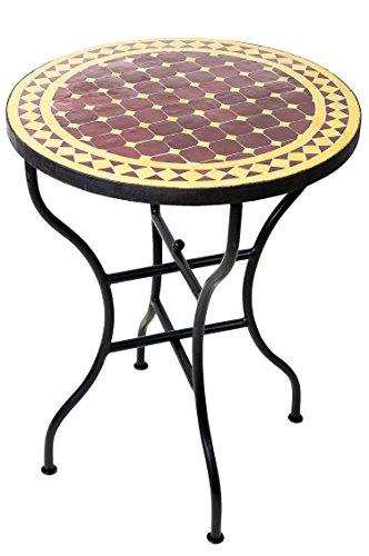 ORIGINAL Marokkanischer Mosaiktisch Bistrotisch ø 60cm Groß rund klappbar | Runder Kleiner Mosaik Gartentisch Mediterran | als Klapptisch für Balkon oder Garten | Marrakesch Bordeaux Gelb 60cm