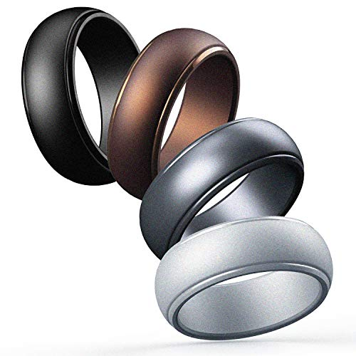 Cabepow Silicone Wedding Ring for Men, 4 Packs & Singles Silicone...
