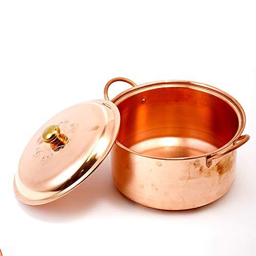 Stufato di rame, stufa a gas, profondo, addensare, pentola di rame, stufato cuoco, pentola di zuppa di rame fatto a mano (24 cm)