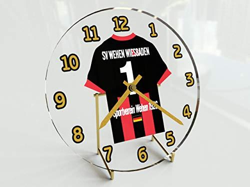 FanPlastic 3. Liga Deutschland Fußball Tischuhr - Fußball - 3.Liga Fußball, JEDER Name & Jede Nummer - NEUES ACRYL Shirt Design !!! (SV Wehen Wiesbaden)