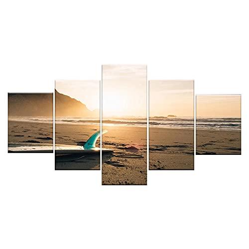 GONGXIANG Lienzo Art Deco De Pintura Moderna para Sala De Estar O Dormitorio Tabla De Surf En La Playa 5 Piezas De 80X150Cm XXL