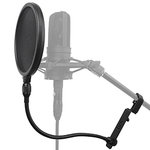 """LyxPro MOP-8 Studio-Grade Mesh Microphone Pop Filter w/14"""" Flexible Steel Gooseneck – Easily Attaches to Any Microphone Stand"""