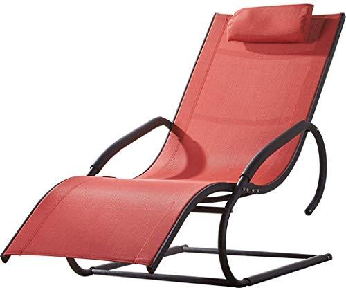 Liegestuhl Textoline Liegestuhl Relax Stuhl Sunbed Größere Armlehne Reclining für Außen- oder Innenbereich Garten Innenhof Wohnzimmer Reclining Sessel Zero Gravity Lounge Chair mit Kissen in rot