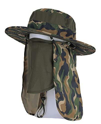 Roffatide Desmontable Sombrero de Sol con Solapa del Cuello Gorro de Pescador al Aire Libre Montañismo Máscara Camuflaje