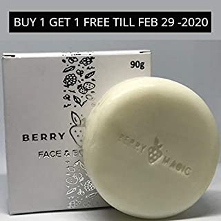 PROMOTIONAL OFFER BUY ONE GET FREE Berry Magic Soap is a Paraben free natural Skincare Anti-Aging Moisturizing Soap for Men & Women. Rich with Shea butter and berry extracts. Single Pack 90 gm
