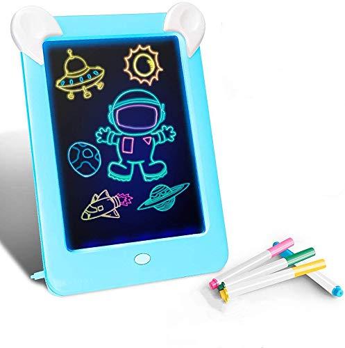 ghtmarrine Tableta de Escritura LCD para niños,Juguetes de Pintura de 10 Pulgadas|3D LED Luminoso Magic Drawing Pad Toys - Bloc de Notas de Dibujo borrable (Azul)