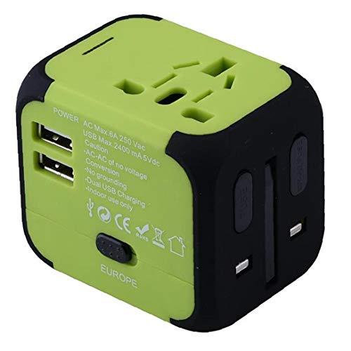 Berrywho Cargador rápido por Todo el Mundo Adaptador de Viaje rápido USB del Cargador del Enchufe Multifuncional Todo-en-uno con Doble USB Fusible de Seguridad Verde Negro