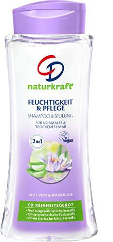 """CD Naturkraft szampon """"Wasserlilie"""", 250 ml, 2 w 1, nawilżanie i pielęgnacja, pielęgnacja włosów do normalnych i suchych włosów, środek do mycia włosów z aloesem, wegański"""