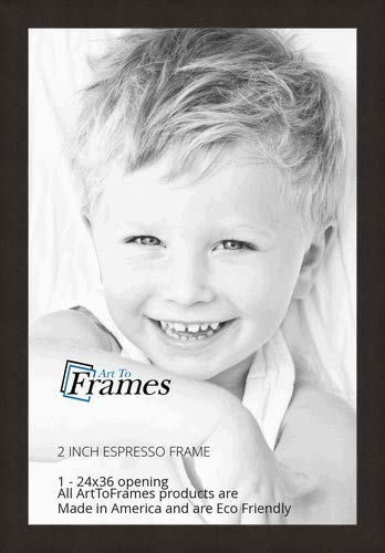"""ArtToFrames 24x36 Inch Brown Picture Frame, This 2"""" Custom Poster Frame is Espresso Walnut, for Your Art or Photos, WOMFRBW74061-24x36"""