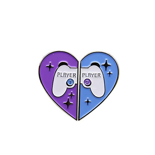 Blue Violet Heart-Shaped Enamel Brooches Game Handle Broken Heart Brooch Pins Lapel Pin Backpack Metal Badge-Default