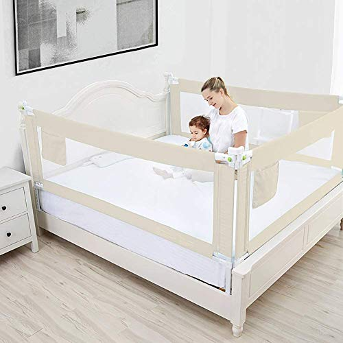 Greensen Bed rail, bed guard, fall protection, baby bed rail, children's bed rail, safety protection, foldable children's bed, adjustable children's bed rail, baby bed rail, beige, 180 cm