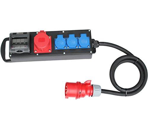 CEE Stromverteiler 32A / 400V zu 1x16A 3x230V Vollgummi Verteiler Baustromverteiler