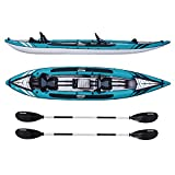 Driftsun Almanor 146 Two Adult Plus one Child Inflatable Recreational Touring Kayak with EVA Padded Seats with High Back Support, Includes Paddles, Pump, Child Seat