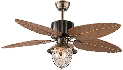 Beeki Ventilador de techo con luz y ventilador de techo tropical de luz con luz de vidrio Control remoto Velocidad de viento ajustable 5 Hojas de hoja de palma reversibles, 52 pulgadas, Base E27, Deco
