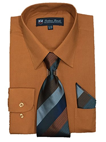 "Fortino Landi Men's Long Sleeve Dress Shirt with Matching Tie and Handkerchief (16-16.5"" Neck 34/35"" Sleeve (Large), Rust)"
