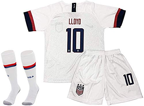 Musu USA Team Soccer Fans 10-Home T-Shirt & Shorts for Kids & Youths (White, 10-11 Years Old)