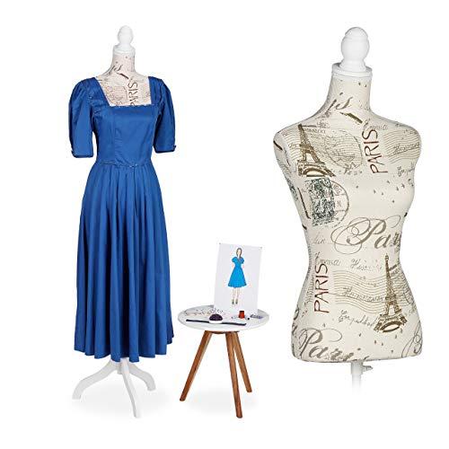 Relaxdays Maniquí de Costura Femenino, Accesorio de modista, Busto, Ajustable, Talla 36 & 38, 1 Ud., Crema