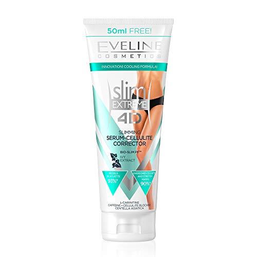 Eveline Cosmetics Slim Extreme 4D Anti-Cellulite Fettverbrennung Creme | 250 ml | Straffende Körpercreme | Schlanke Oberschenkel, Straffer Bauch, Straffe Gesäß und Arme Haut