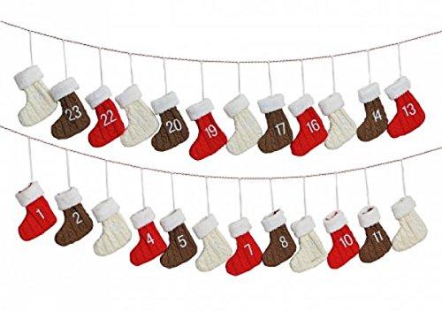 Calendario de Adviento–Guirnalda–Calcetines–Guirnalda de Adviento con calcetines de tela de 24piezas–Aprox. 260cm hiermit se la bucólico Tiempo gris candente–24calcetines para rellenar sí