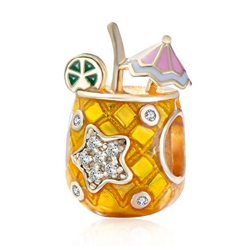 Andante-Stones 925 Sterling Silber Gold Bead Charm * Aloha Hawaii * Ananas Drink Glas mit Sonnenschirm und Zirkonia-Stern - Element Kugel für European Beads Modul Armband + Organzasäckchen
