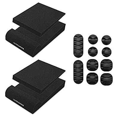 OUTSTANDER 2x Monitor Isolation Speaker Pads with Set of Cable Clip Organisers for Cable Management, Acoustic Studio Desktop Stands, High Density Foam, 29 x 19 x 5 cm or 11.5 x 7.5 x 2 Inches, Black by GREENLEAD LIMITED