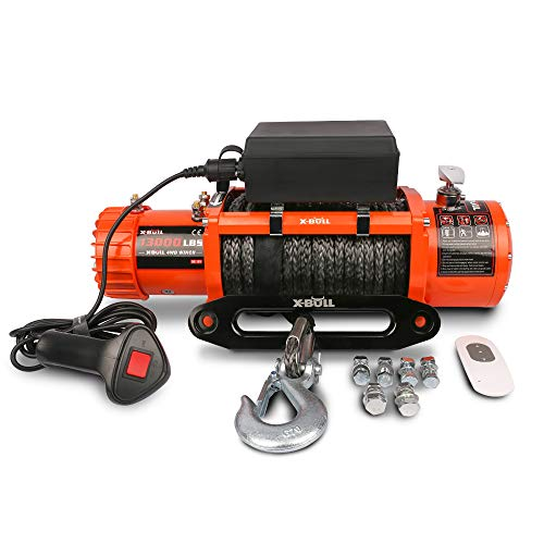 X-BULL 12V Synthetic Rope Winch-13000 lb. Load Capacity