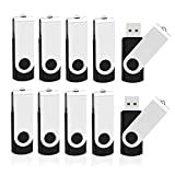 Kootion 10 Pack 4GB Flash Drive 4gb USB 2.0 Flash Drives Keychain USB Drive Bulk Thumb Drive Swivel Memory Stick Black