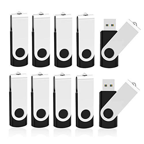 KOOTION 10 X 32GB Flash Drive 3.0 USB Flash Drive USB 3.0 Thumb Drive 32GB USB Drives Keychain Memory Stick Black