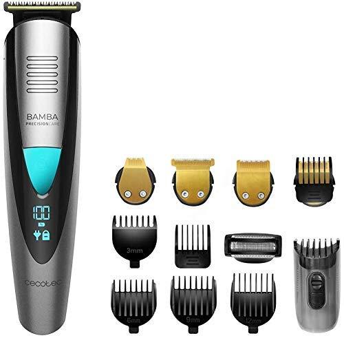 Cecotec afeitadora Bamba PrecisionCare Multigrooming Pro. Multifunción 5 en 1,waterproof, batería de litio,cuchillas de revestimiento de titanio,pantalla digital,13 ajustes de longitud,6 peines