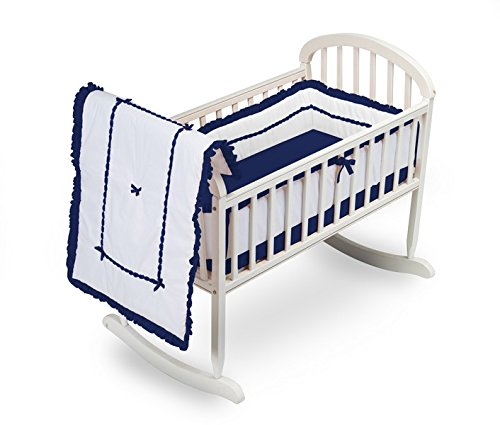 Baby Doll Bedding Unique Cradle Bedding Set, Navy