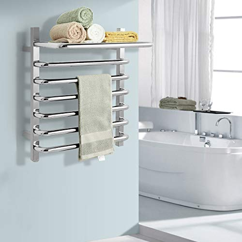 Tangkula 10 Bars Wall Mounted Towel Warmer with Top Shelf, 114W Electric Heated Towel Rail for Bathroom, 304 Stainless Steel Plug in Towel Heater Rack On/Off Switch, Mirror Finished