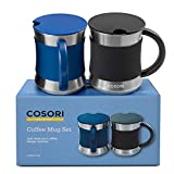 COSORI Coffee Mug with Lids Set of 2, Stainless Steel Cups with Heat-resistant Handle &...