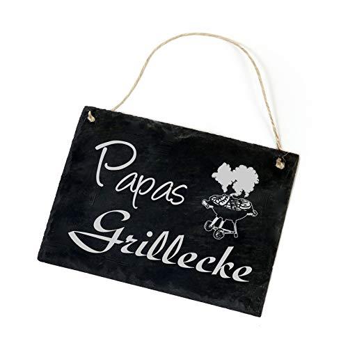 Schiefertafel Papas GRILLECKE - Schild Grill - 22 x 16 cm