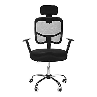 Office Chair, shamolutuo Modern Mesh Executive Breathable Mesh Chairs High Back Office Desk Chair Adjustable with S-Curve Backrest Head Pillow Ergonomic Design Network Computer Gaming Chair (Black)