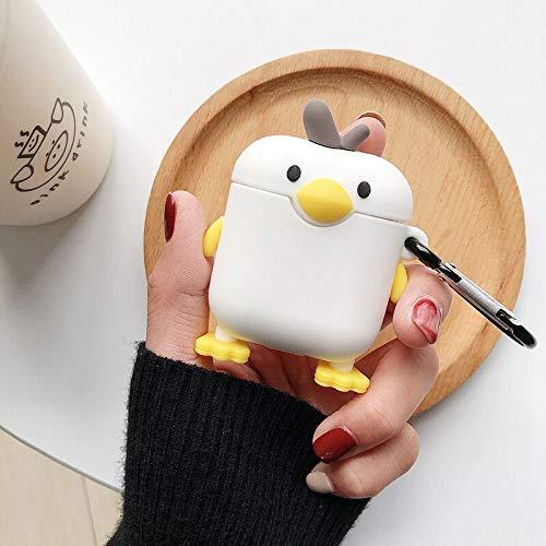 SevenPanda für Airpods 1 und 2 Hülle, Süße 3D Lustig Cartoon Soft Silikon Airpod Hülle, Kawaii Fun Cool Catalyst Keychain Hülle, Karabiner Hülle für Mädchen Kinder Teens Jungen (Ente - Weiß)