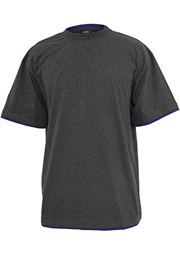 Urban Classics Hommes Contrast Tall Tee TB029A, Taille:l;Farbe:charcoal/purple