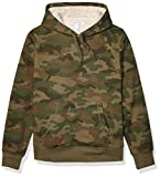 Amazon Essentials Men's Sherpa Lined Pullover Hoodie Sweatshirt, Green Camo, Small