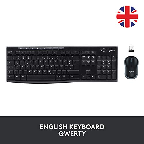 Logitech MK270 Wireless Keyboard and Mouse Combo for Windows, 2.4 GHz Wireless, Compact Wireless Mouse, 8 Multimedia & Shortcut Keys, 2-Year Battery Life, PC/Laptop, QWERTY UK Layout - Black