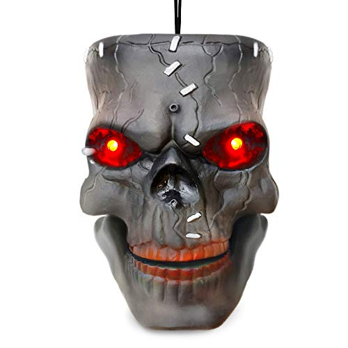 VATOS Halloween Decoration Hanging Skull Head Decor with LED Lighting Eyes & Scary Laughter & Biting MouthMotion Sensor Voice Control Zombie Head | Best Outdoor Indoor Yard Pub Party Favor Prop