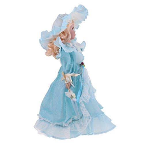 Toygogo Bambole da Ragazza Elegante in Porcellana da 40 Cm con Figure Bianche E Abito da...