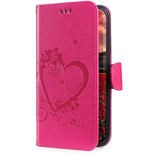 Housse Huawei P20 Pro,Coque Huawei P20 Pro Portefeuille PU Premium Houuse de Protection Coque à Rabat Magnetique Clapet Stand Support Flip Case Cover Amour Coque Housse Étui pour Huawei P20 Pro,Rose